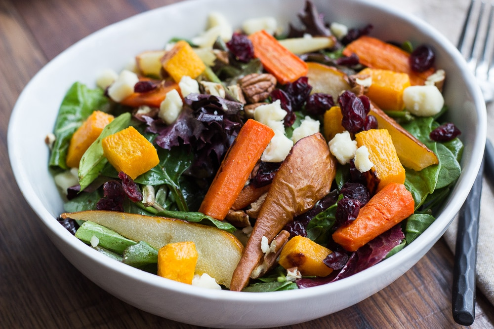 roasted vegetable salad with balsamic vinaigrette dressing