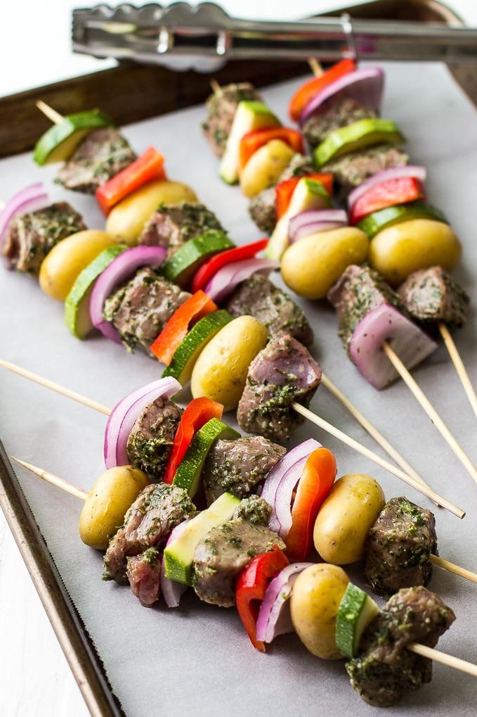 Grilled Herbed Steak Skewers with Chimichurri