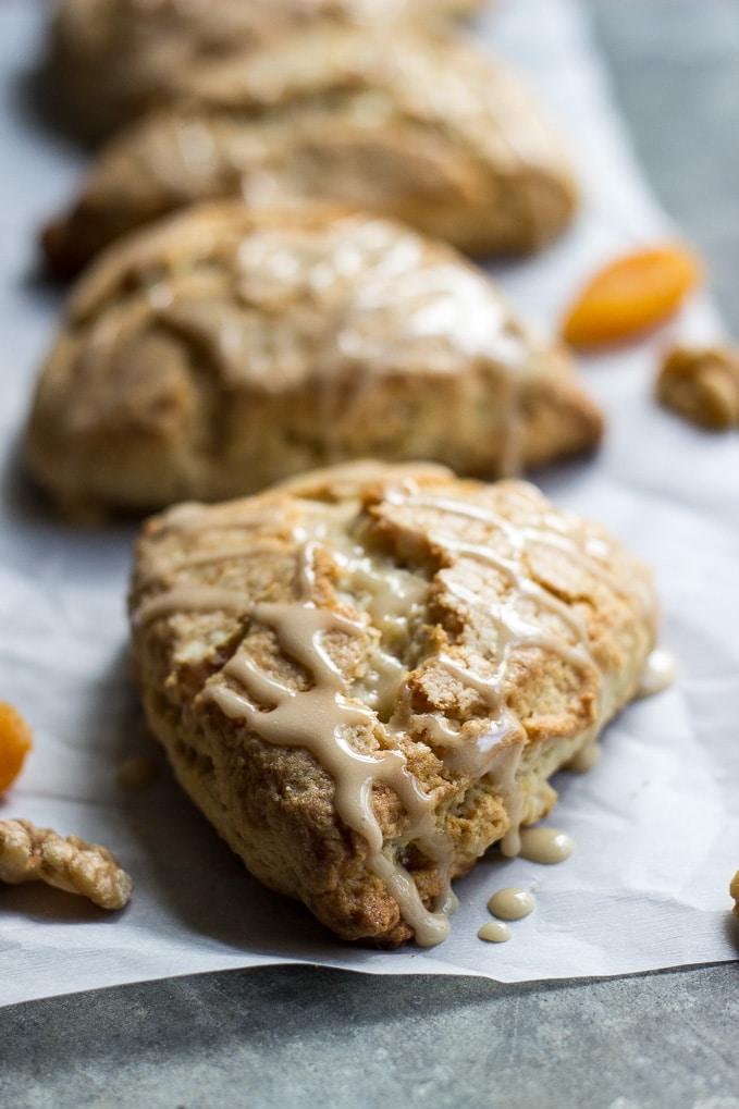 Apricot Walnut Scones with Maple Glaze | The Beach House Kitchen