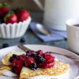 Coconut Crepes with Whipped Greek Yogurt and Berry Compote