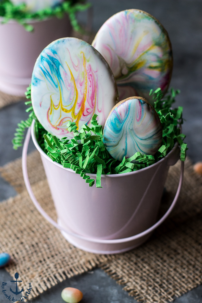 Easter Egg Sugar Cookies With Marbled Royal Icing The