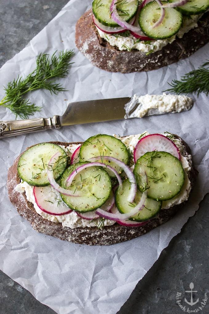 Garden Vegetable Toast with Herbed Feta Spread