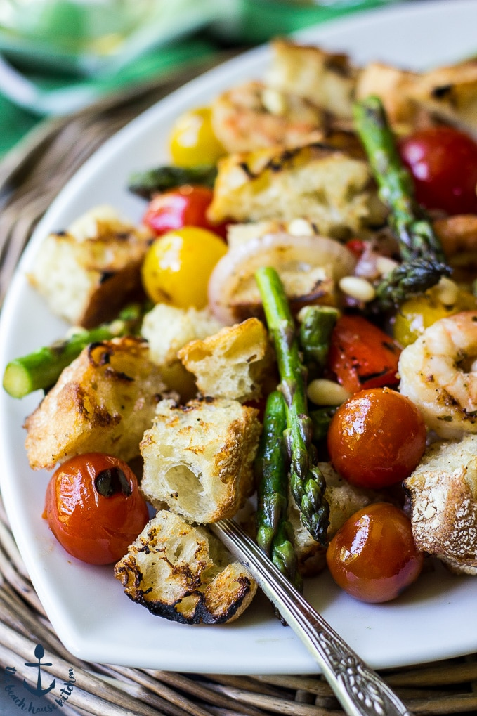 Grilled Panzanella with Shrimp and Asparagus