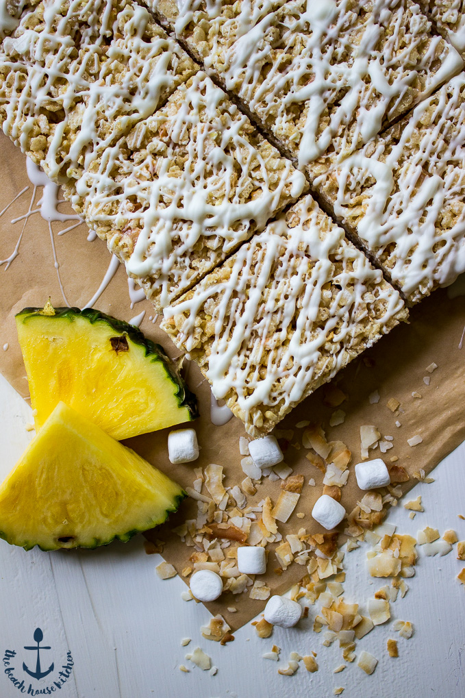 Tropical Rice Krispie Treats with Toasted Coconut, Pineapple and White ...