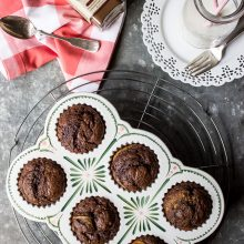 Chocolate Espresso Banana Muffins
