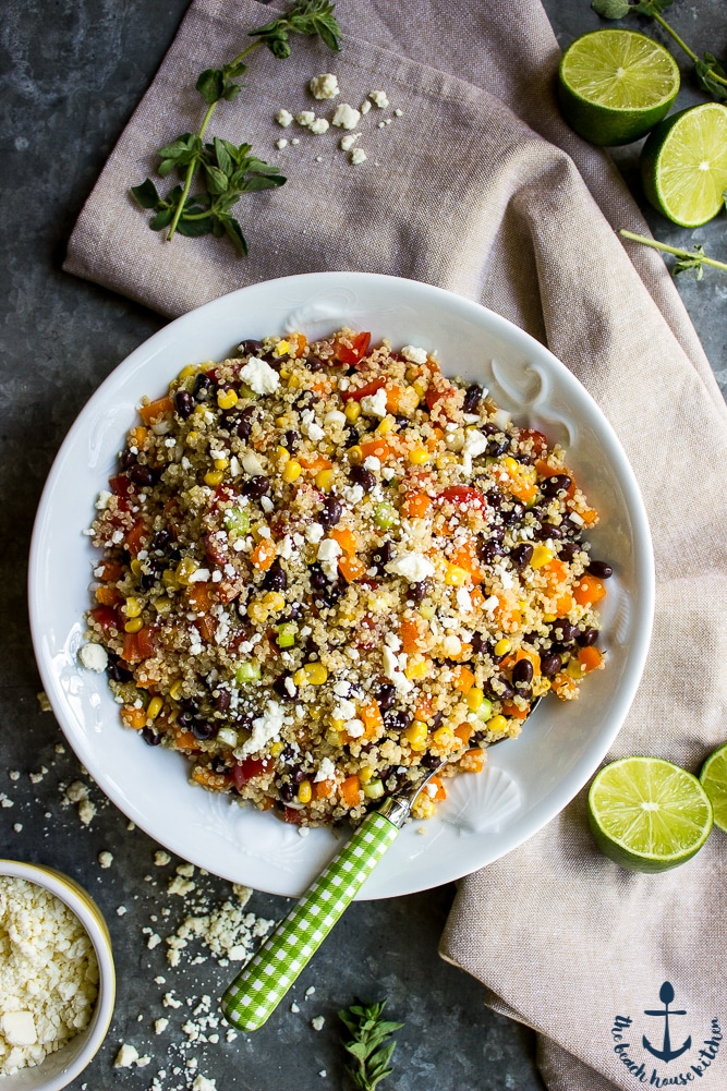 Southwestern Quinoa Salad with Lime Dressing and Cotija Cheese