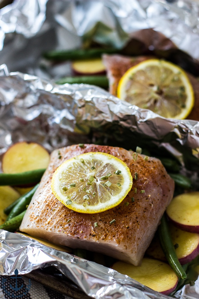 Grilled Mahi Mahi and Vegetables in Foil Packets