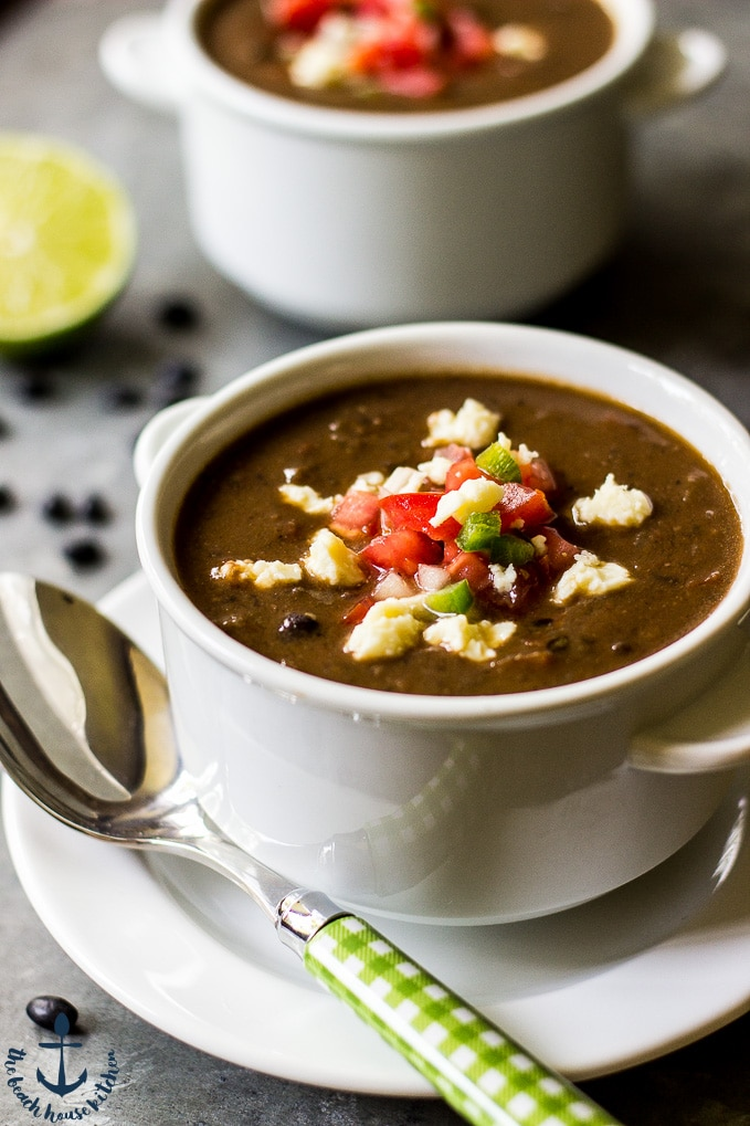 Black Bean Soup Topped with Pico de Gallo
