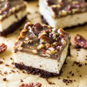 Cheesecake Bars with Pecan Praline Topping