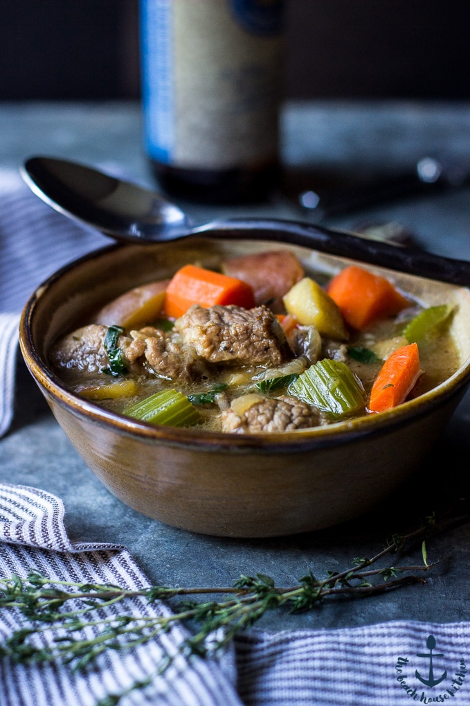 Ale Braised Pork Stew with Vegetables and Apples