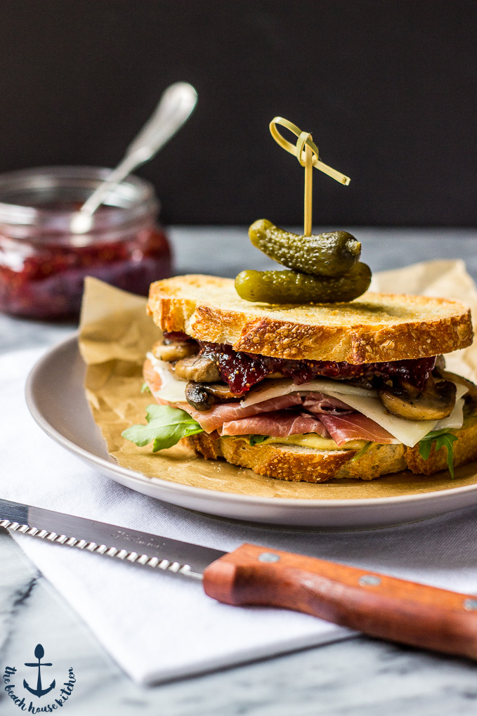 Prosciutto and Asiago Sandwich with Marsala Mushrooms and Fig Jam