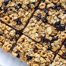 Chewy White Chocolate Dipped Blueberry Granola Bars