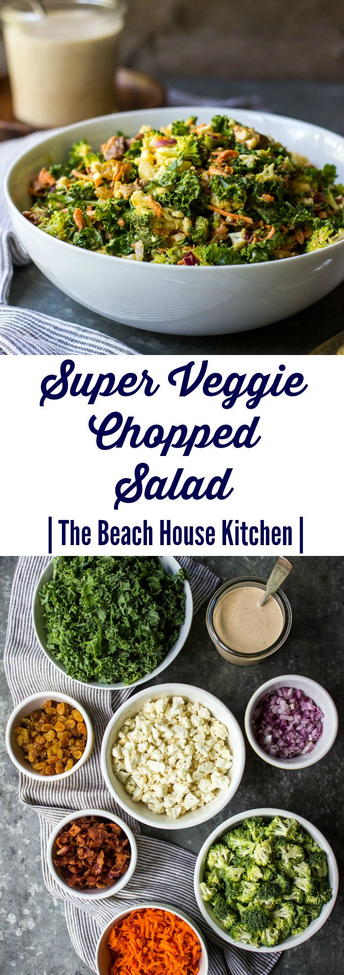 Super Veggie Chopped Salad with BBQ Ranch Dressing
