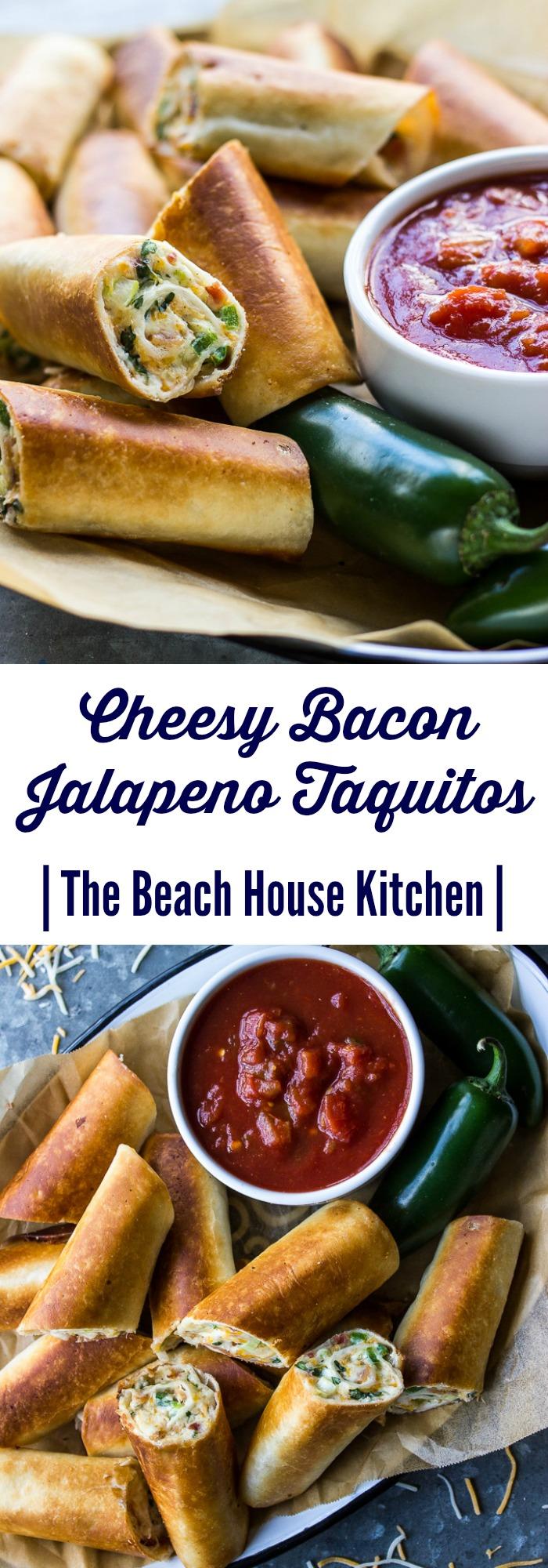Cheesy Bacon Jalapeño Taquitos | The Beach House Kitchen