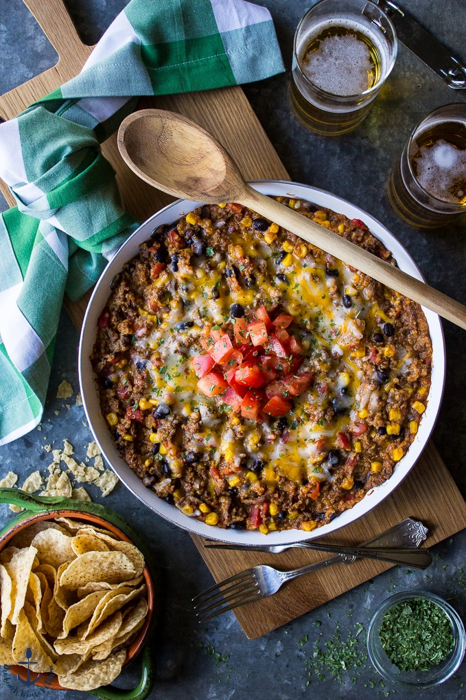 Beef and Quinoa Enchilada Skillet