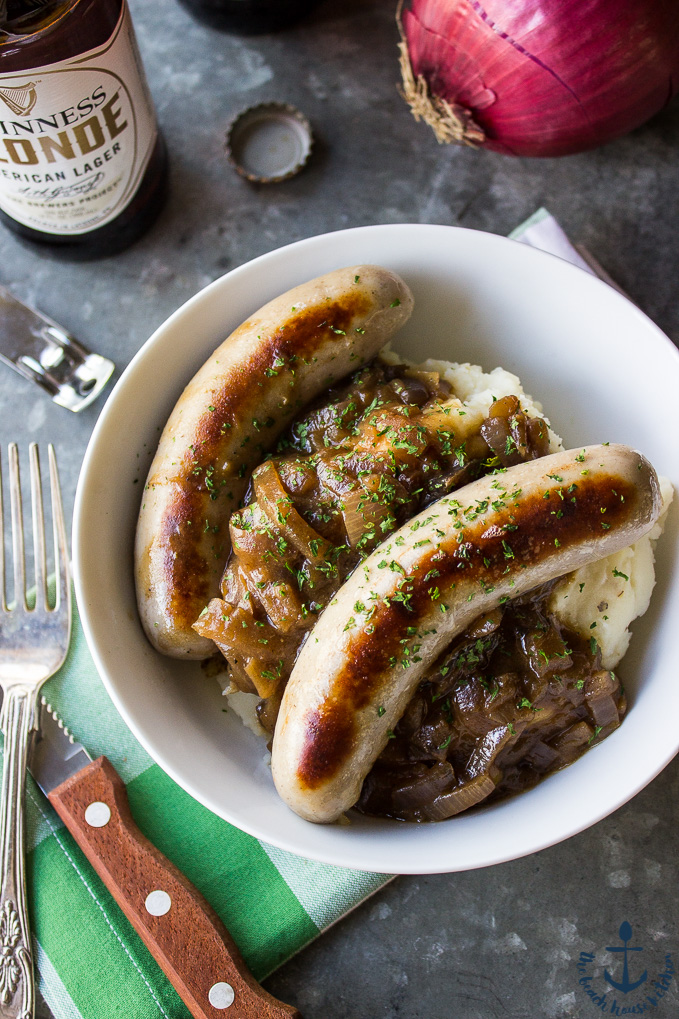 Bangers & Mash with Guinness Onion Gravy | The Beach House ...