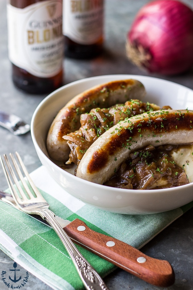 Bangers & Mash with Guinness Onion Gravy | The Beach House Kitchen