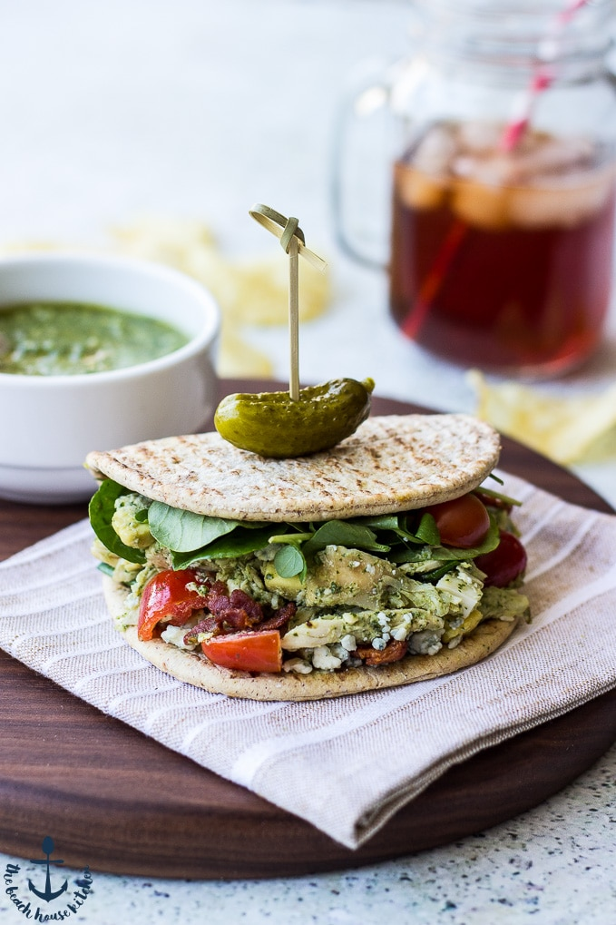 Cobb Salad Flatbread Wrap with Watercress Pesto