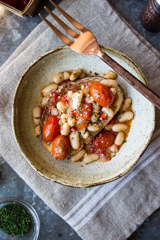 White Bean & Tomato Ragout Over Ciabatta