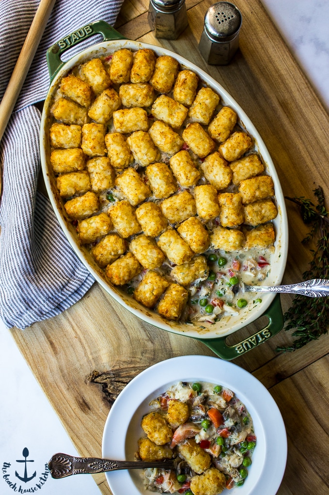 Tater Tot Topped Seafood Pot Pie