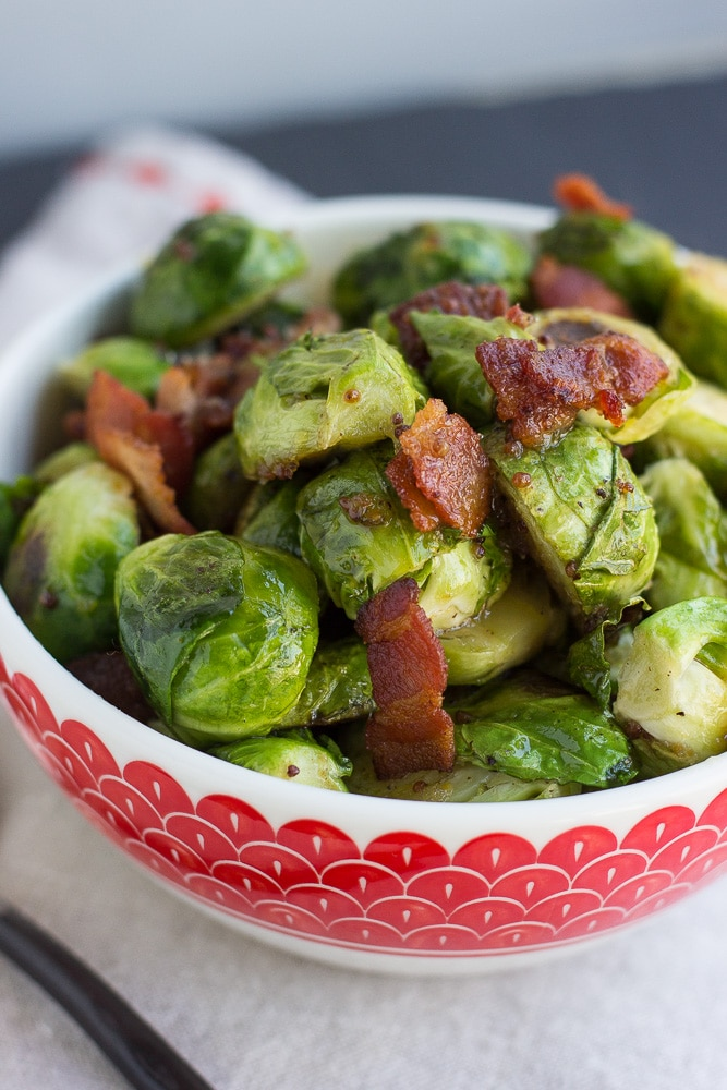 Brussels Sprouts with Horseradish-Honey Mustard Glaze and Bacon