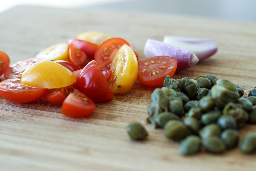 Heirloom grape tomatoes, shallots and capers