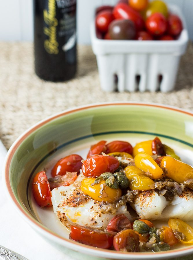 Striped Bass Fillets with Tomatoes and Capers