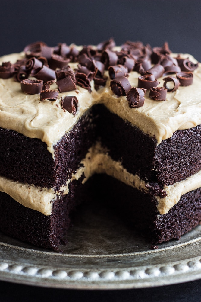 Chocolate Cake with Creamy Peanut Butter Frosting on a platter