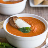 Creamy Tomato Basil Soup with Cheese Toasts