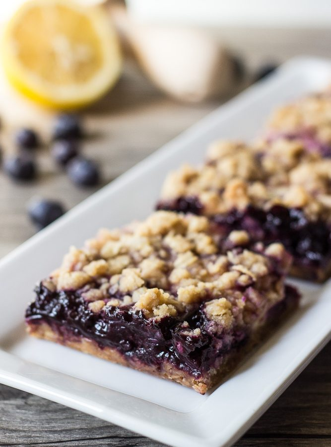Blueberry Lemon Cream Streusel Bars