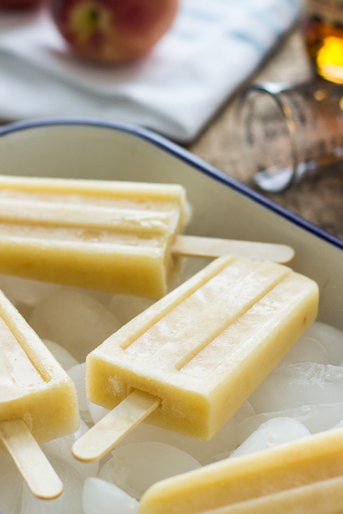 Bourbon-White Peach Popsicles