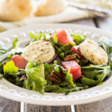 Watermelon Salad with Arugula & Baked Goat Cheese
