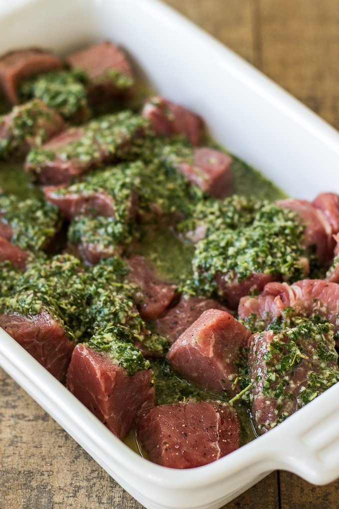 Grilled Herbed Steak Skewers with Chimichurri