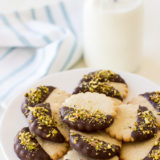 Pistachio Chocolate Dipped Cardamon Spice Cookies