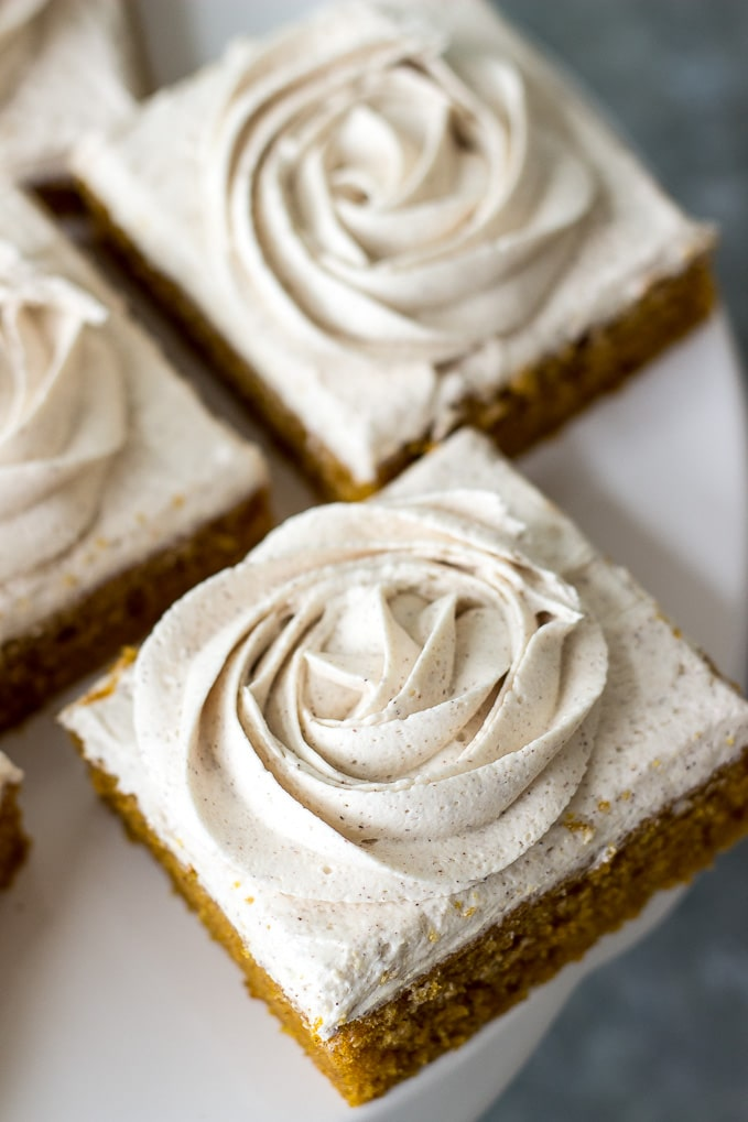 Pumpkin Squares with Cinnamon Vanilla Buttercream Frosting