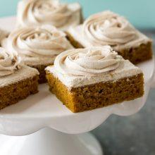 Pumpkin Squares with Cinnamon Vanilla Buttercream Frosting