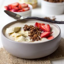 Peanut Butter, Banana and Oatmeal Smoothie Bowl with Homemade Granola and Fruit