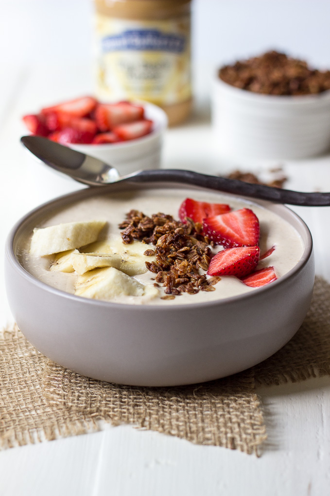 Peanut Butter Banana And Oatmeal Smoothie Bowl With Homemade Granola And Fruit The Beach House Kitchen