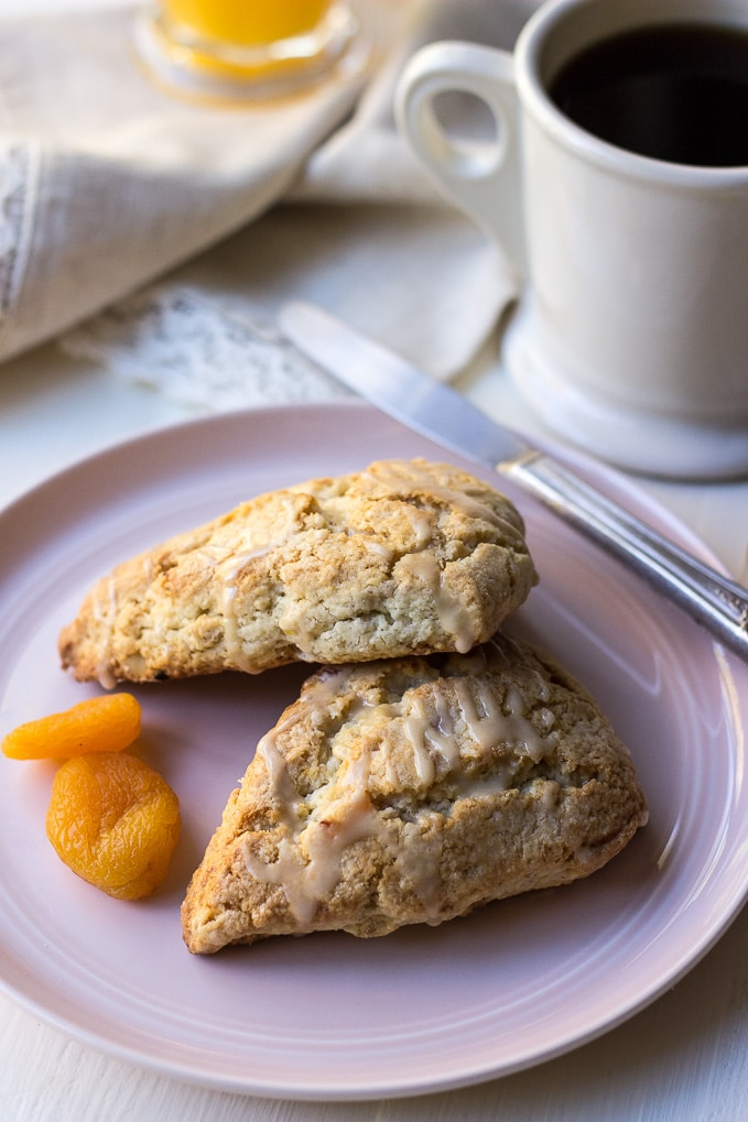 Apricot Walnut Scones with Maple Glaze