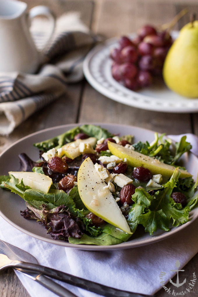 Roasted Grape Salad with Pears, Blue Cheese and Maple Dressing