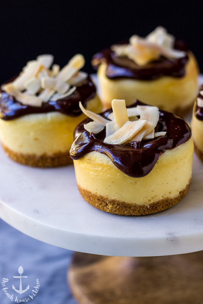 Vanilla Bean Cheesecakes with Toasted Coconut Chip Crust Topped with Chocolate Ganache