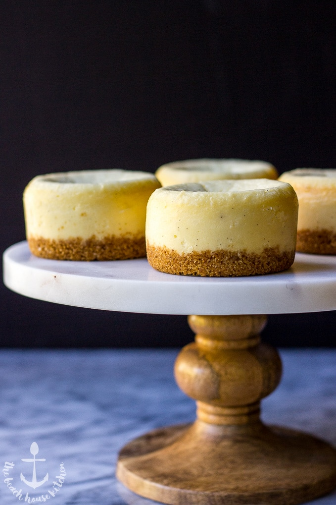 Vanilla Bean Cheesecakes with Toasted Coconut Crust Topped with Chocolate Ganache