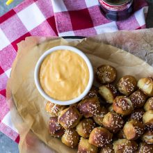 Hot Pretzel Nuggets with Cheddar Cheese Sauce