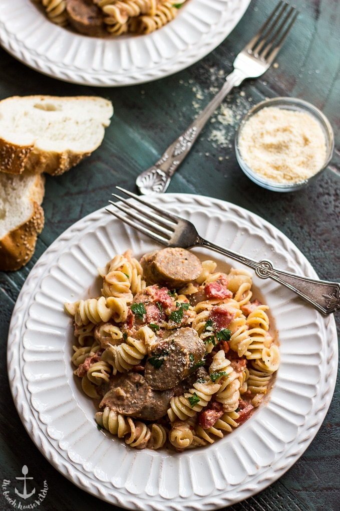 Rotini with Italian Sausage and Tomato Cream Sauce