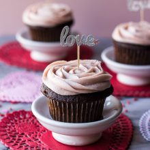 Valentine Chocolate Cupcakes with Strawberry Buttercream