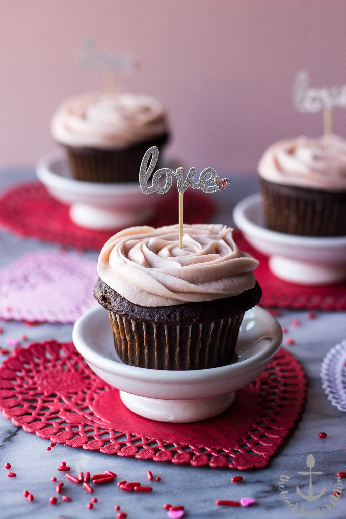 Valentine's Chocolate Cupcakes with Strawberry Buttercream Frosting-