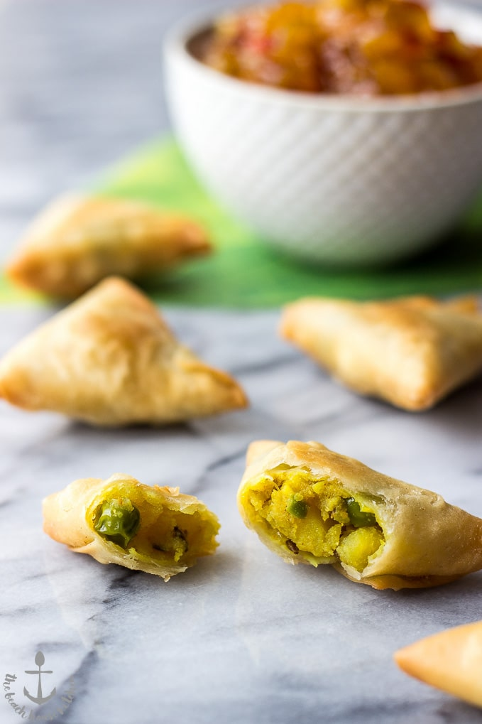 Potato Samosas with Mango and Peanut Chutneys