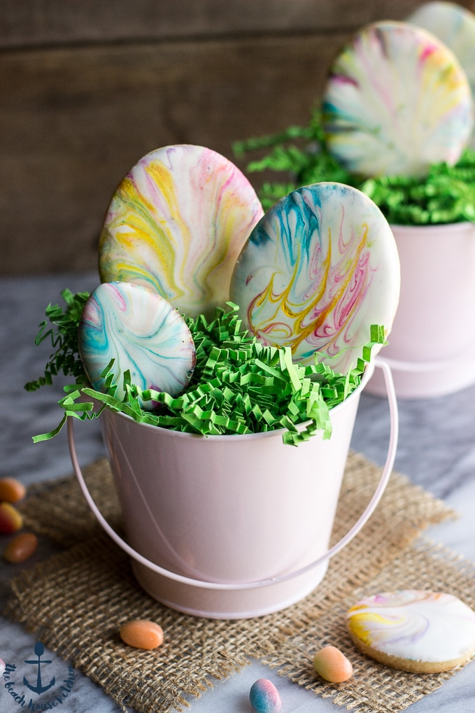 Easter Egg Sugar Cookies with Marbled Royal Icing