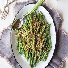 Green Beans with Horseradish Panko Crumbs