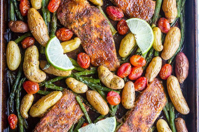 Sweet n' Spicy Salmon Sheet Pan Dinner